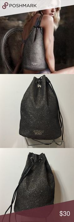Victoria's Secret Glitter Drawstring Bag Victoria's Secret Glitter Drawstring Bag • Very sparkly glitter bag with drawstring straps • Deep enough to cart lots of your items • Picture of VS model just shows the size • Bag is clean inside and no mars to the outside of this bag • Limited Edition Bag Victoria's Secret Bags Shoulder Bags