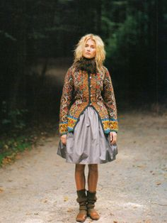 Knitted jacket from the Search Press reprint of Norwegian Knitting Designs cool boho gypsy folk chic fashion for alice with scandi retro quirky style winter 2014 Folk Fashion, Fashion Mode, Folklore, Norwegian Knitting Designs, Norwegian Style, Norwegian Fashion, Fair Isle Knitting, Knit Jacket, Boho Gypsy