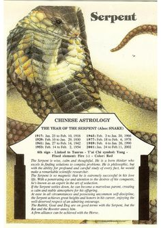 Zodiac Unlimited Chinese astrology postcard: Serpent