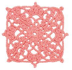 Crochet Floral Block: Coral Trellis Square