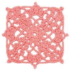 Stitchfinder : Crochet Floral Block: Coral Trellis Square : Chart with written pattern