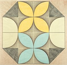 Swiss Emma Kunz (1892-1963) created mandala-like grids with colored pencil on graph paper that she used as instruments of healing. Each diagram was reportedly drawn in a single sitting, some of which could reportedly last over 24 hours.  The drawings were used to help her visualize the invisible realities that exist beyond the tangible, everyday world, and were composed with the aid of a divining pendulum that allowed her to plan the ultimate structure of their geometric configurations.