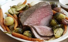 Roast balsamic sprouts and beef