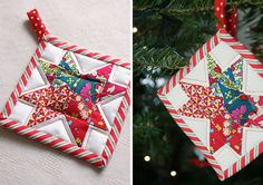 MessyJesse- Quilted star tree ornament.