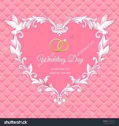 Template of wedding card. Frame heart-shaped  on pink background