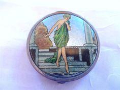 Vintage Powder Compact Art Deco Foil Bathing Girl Rare Nude