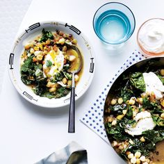 Chickpeas with poach egg and Swiss chard
