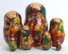 7pcs. Russian Matroyshka Doll by  Various by Olgarussiantreasures