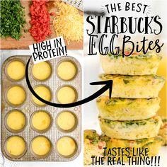 Egg Recipes For Dinner, Egg White Recipes, Easy Egg Recipes, Egg Recipes For Breakfast, Breakfast Bites, Cooking Recipes, Healthy Recipes, Starbucks Egg White Bites, Egg Bites Recipe