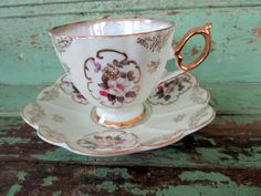 Vintage Teacup Tea Cup and Saucer gold gilt by Holliezhobbiez