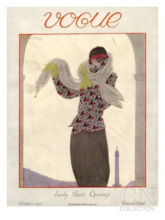 Vogue Cover - October 1923 Poster Print by Georges Lepape at the Condé Nast Collection