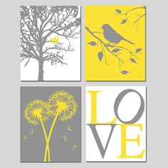 Hey, I found this really awesome Etsy listing at https://www.etsy.com/listing/152902897/yellow-and-gray-nursery-art-birds-in-a