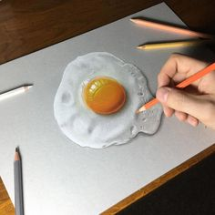 Realistic Drawings Sunny side up by Marcello Barenghi - A couple of months ago we featured the incredibly detailed illustrations of Stephen Ward and today we're back with yet another amazing illustrator that's pushing out some truly insane art. Drawing Skills, Drawing Techniques, Drawing Tips, Drawing Ideas, 3d Drawings, Realistic Drawings, Collage Drawing, Painting & Drawing, Hyperrealistic Drawing