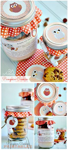 Pumpkin Cookies + Mason jars + Free Printable = ADORABLE and Yummy Gift. For thank you for keepers? Fall Crafts, Holiday Crafts, Holiday Fun, Pumpkin Cookie Recipe, Pumpkin Cookies, Mason Jar Crafts, Mason Jars, Diy Spring, Mason Jar Cookies
