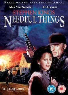 Needful Things, Max Von Sydow, Ed Harris 1993 based on the book by Stephen King Scary Movies, Great Movies, Great Books, Scary Scary, Creepy, Horror Movie Posters, Horror Films, Stephen King Needful Things, Best Selling Novels