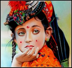 Kalash girl - Sketching by Marie Bouldingue in My Scrapbook at touchtalent