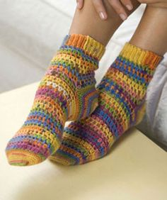 Crochet your own colorful and comfy socks using Red Heart® Heart & Sole® yarn. Intermediate crochet instructions require two skeins of yarn to make one pair of women's size socks. Crochet Socks Pattern, Crochet Boots, Crochet Slippers, Knit Or Crochet, Crochet Clothes, Knitting Patterns, Crochet Patterns, Crochet Sole, Kids Slippers