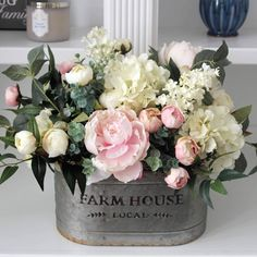 French Country/Cottage Decor~Modern Farmhouse Arrangement~Peonies, Hydrangeas, Delphiniums,Eucalyptus,Roses and Lambs Ear in a Wood Box Beautiful Flower Arrangements, Silk Flower Arrangements, Beautiful Flowers, Peony Arrangement, Faux Flowers, Silk Flowers, Spring Flowers, Purple Flowers, Deco Floral