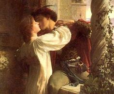 passionate kisses painting   Romeo and Juliet kissing in a painting by Sir Frank Dicksee.