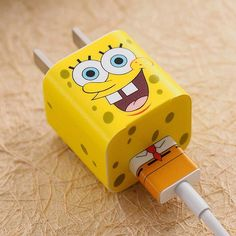 SpongeBob iPhone Charger Stickers Personalize your iPhone charger and cable Easy to peel off - leaves no residue Covers your charger, USB cord, and earbuds. Stickers only, does not include phone charger or cord Iphone Ladegerät, Iphone Charger, Apple Iphone, Iphone Cases, Diy Phone Case, Cute Phone Cases, Mobile Accessories, Iphone Accessories, Spongebob
