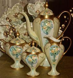 Wonderfully elegant Limoges footed coffee/tea set