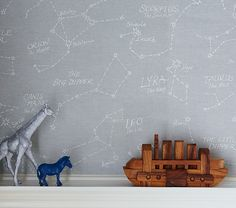 I'm just going to do this in chalk on the chalkboard paint wall... save $99.  Constellation Decal | Pottery Barn Kids