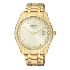 WATCH CITIZEN ECO DRIVE ROUND DIAL STAINLESS STEEL GOLD PLATED CASE AND BRACELET DATE WATER RESISTANT 40MM DIAMETER - Jons Family Jewellers