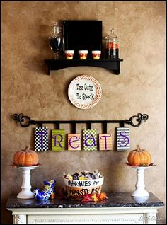 love the apothecary jar with black sand & a mini pumpkin