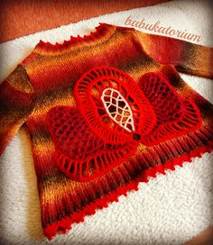 Red Lotus - Crochet Upcycled Autumn Cardigan With Irish Lace Flower Applique