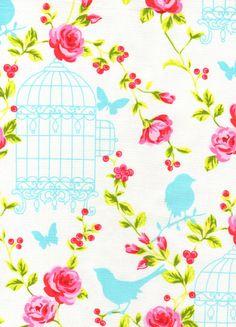 NEW-Timeless Treasures Fabric- Tweet- Birds and Flowers - White - Novelty Fabric. $8.25, via Etsy.