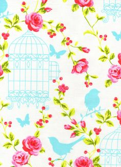 NEW-Timeless Treasures Fabric- Tweet- Birds and Flowers - White - Novelty Fabric. $8.25, via Etsy.