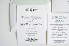 Wedding Invitation Eucalyptus Greenery Simple by twigandjuniper