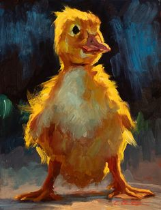 Dapper Duckling by Cheri Christensen, Oil, 8 x 6 Posca Art, Art Drawings, Art Sketches, Guache, Pretty Art, Animal Paintings, Painting & Drawing, Food Painting, Aesthetic Art