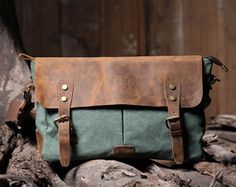 Handmade Leather Canvas Bag   Canvas por HandmadeLeatherJenny, $59.99