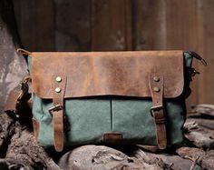 Handmade Leather Canvas Bag   Canvas by HandmadeLeatherJenny, $59.99