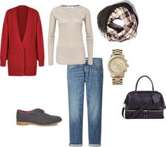 Easy Fall Outfit | Cardigan, Scarf and Boyfriend Jeans (via Bloglovin.com )