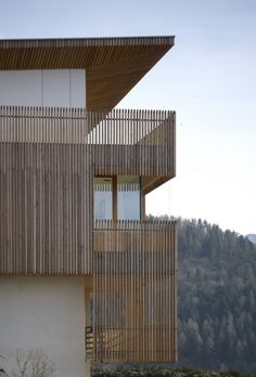 Inspiration - boards could clad wall and extend higher than wall creating a transparency similar to porch on this building.