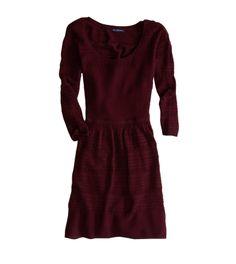 Fit & Flare Crochet Sweater Dress #OxBlood