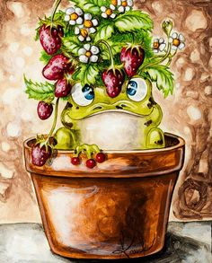 With a brush in his hand and a head full of fantasy - the artist Anouck Goulet. Discussion on LiveInternet - Russian Service Online diary Funny Frogs, Cute Frogs, Decoupage, Frog Life, Frog Pictures, Diamond Drawing, Frog Art, Frog And Toad, Kermit