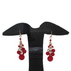 Robert Rose 18k Yellow Gold Plated  Long Layered Red Beads Earring #RobertRose #DropDangle