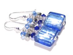 Murano Glass Blue Square Dangle Sterling Silver Earrings