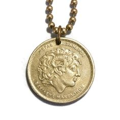 Coin Jewelry, Coin Necklace, Pendant Necklace, Unique Jewelry, Necklaces, Ancient Greek Art, Alexander The Great, Drawstring Pouch, Ball Chain