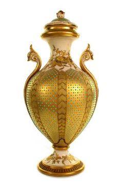 Gilded and jeweled' British Porcelain Urn Vase from Coalport