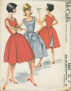 An original ca. 1961 McCall's pattern 5861.   Misses' and Junior Reversible Dress. Back wrapped and buttoned reversible dress with rick rack braid in seams at neck, armholes, bodice back, pockets and waistline. Four-gore gathered skirt, dart fitted bodice. Tops of diamond shaped pockets buttoned to skirt.