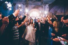 Wedding sparklers at Lulworth Castle
