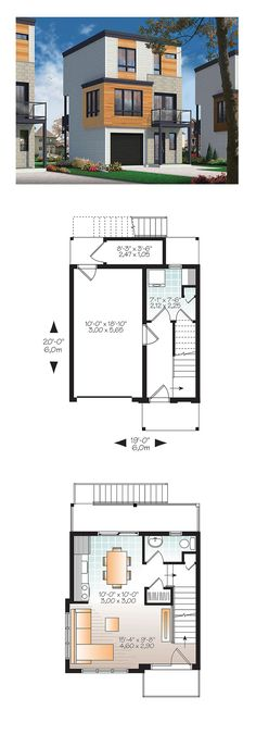 House Plan 76463 - Contemporary, Modern Style House Plan with 1015 Sq Ft, 3 Bed, 2 Bath, 1 Car Garage Sims House Plans, Modern House Plans, Small House Plans, Modern House Design, House Floor Plans, Modern Interior Design, Casas Containers, Small Modern Home, House Blueprints