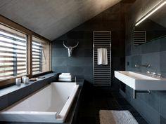 kleines badezimmer modern gestalten mit naturstein badezimmer ... | {Luxus badezimmer schwarz 50}