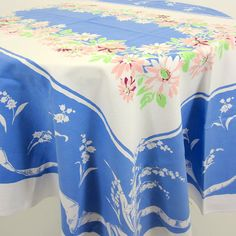 Vintage Tablecloth - Bluebell and Pink Daisy Floral
