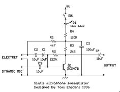 Circuit using Electret Condenser Microphone Circuits in