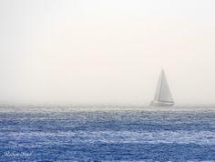 Sail boat in the mist, Newport Beach.
